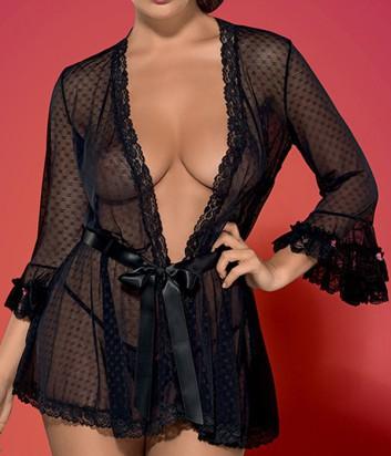 Комплект Obsessive Piccorosa халат и стринги черный с розочками