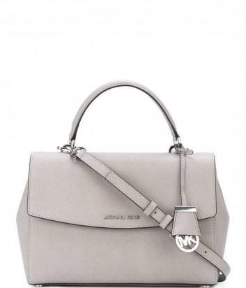 Большая сумка Michael Kors Ava из сафьяновой кожи светло-серая