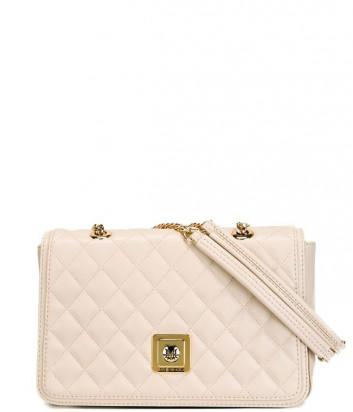 Большая стеганная сумка Love Moschino на длинной цепочке пудровая