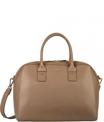 Кожаная сумка Furla Allegra 809091 большая серо-коричневая