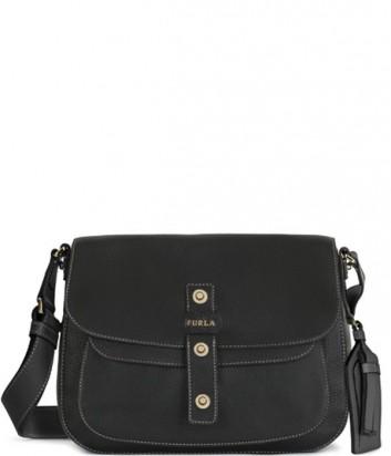 Женская сумка через плечо Furla Emma 852370 из текстурной кожи черная