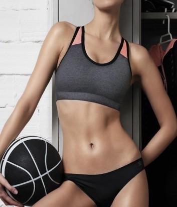 Женский спортивный топ Gisela Move укороченный серо-розовый