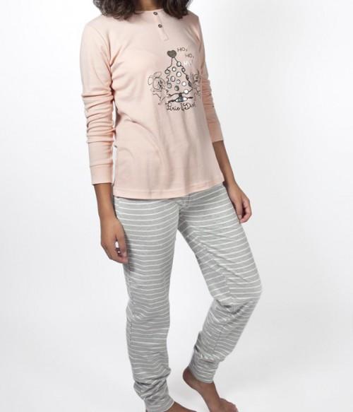 Женская пижама Gisela Pixie & Dixie 21415 кофта и брюки серо-розовая