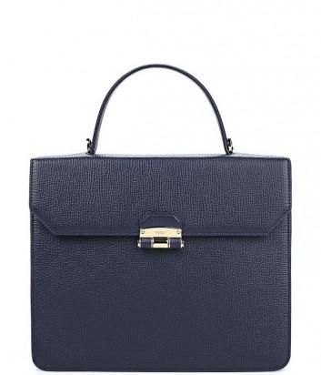 Большая сумка Furla Chiara 852652 из текстурной кожи темно-синяя
