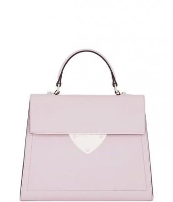 Роскошная сумка Coccinelle B14 из полированной кожи средняя розовая