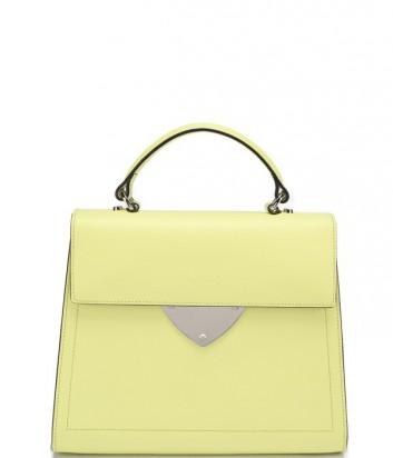 Роскошная сумка Coccinelle B14 из полированной кожи средняя желтая