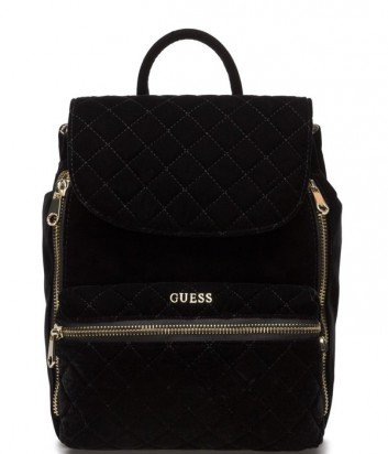 Модный женский рюкзак Guess с внешним карманом на молнии черный