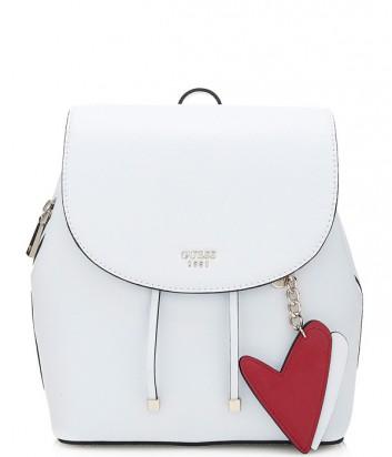Женский рюкзак Guess Pin Up Pop с подвеской в виде сердца белый