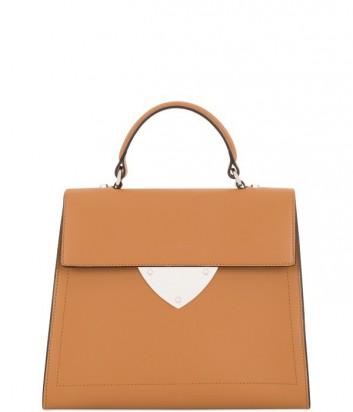 Элегантная сумка Coccinelle B14 из полированной кожи рыжая