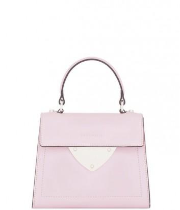 Маленькая сумка Coccinelle B14 из полированной кожи пастельно розовая