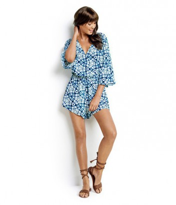 Комбинезон-шорты Seafolly Shibori с глубоким декольте бело-голубой