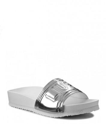 Сандалии на плоской подошве Liu Jo с тиснением бренда серебряные