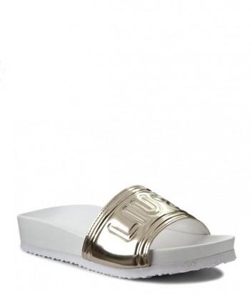 Сандалии на плоской подошве Liu Jo с тиснением бренда золотые
