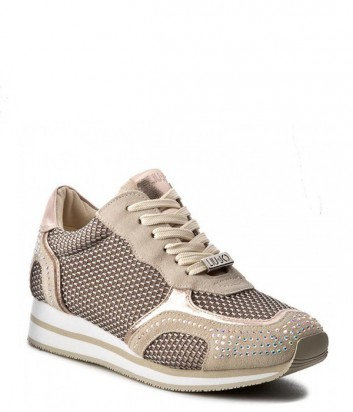 Замшевые кроссовки Liu Jo Rioko декорированы стразами бежевые