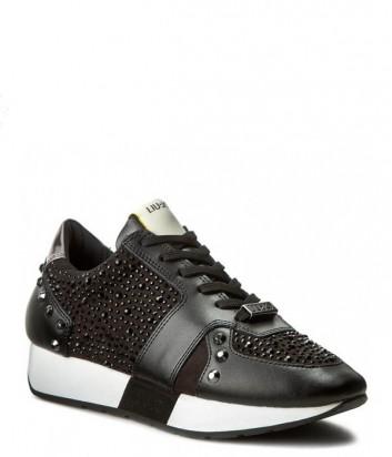 Кроссовки Liu Jo Aura со стразами и ламинированными деталями черные