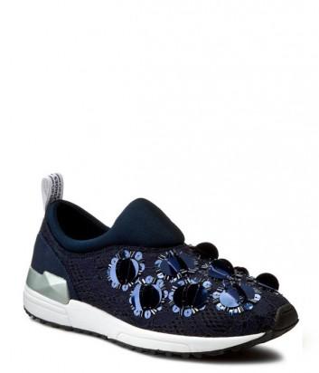 Роскошные кроссовки Liu Jo Ricamo декор кружево и пайетки синие