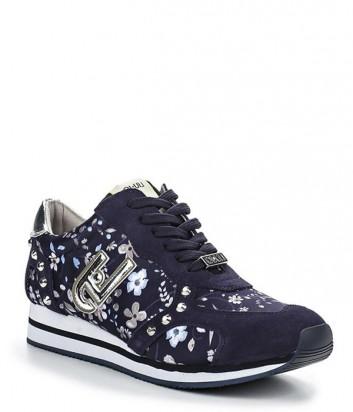 Замшевые кроссовки Liu Jo Sakura с цветочным принтом синие