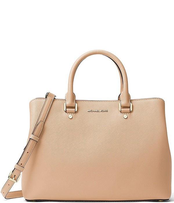 Роскошная сумка Michael Kors Savannah из сафьяновой кожи бежевая