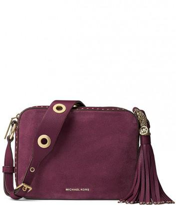 Замшевая сумка Michael Kors Brooklyn с широким ремнем сливовая