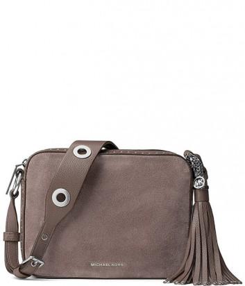 Замшевая сумка Michael Kors Brooklyn с широким ремнем серая