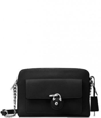 Кожаная сумка через плечо Michael Kors Emma с внешним карманом черная