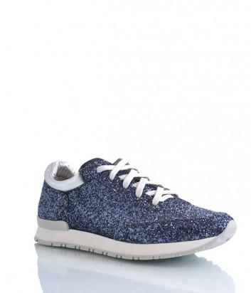 Кожаные кроссовки 181 Uno Otto Uno декорированные глиттером синие