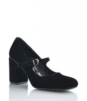 Бархатные туфли Lottini на устойчивом среднем каблуке черные