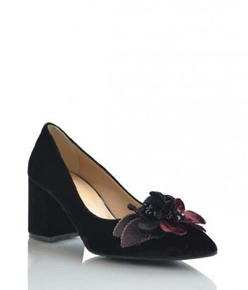 Бархатные туфли Lottini на среднем каблуке декорированные цветочками