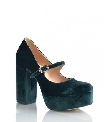 Бархатные туфли Lottini на платформе и устойчивом каблуке изумрудные