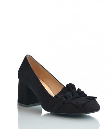 Элегантные замшевые туфли Lottini на низком каблуке черные