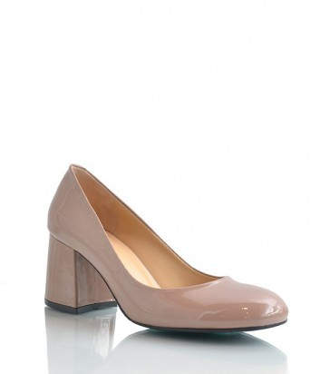 Элегантные лаковые туфли Lottini на низком каблуке бежевые