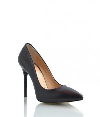 Кожаные туфли-лодочки Lottini на высоком каблуке черные