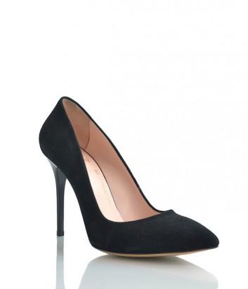 Замшевые туфли-лодочки Lottini на высоком каблуке черные
