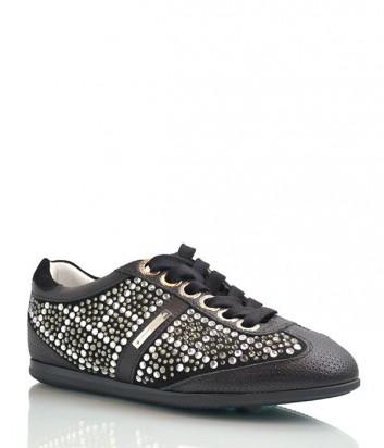 Кроссовки Alessandro Dell'acqua декорированы кристаллами черные