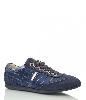Замшевые кроссовки Alessandro Dell'acqua с кристаллами синие
