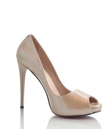 Лаковые туфли Lottini с открытым мысом на высоком каблуке бежевые