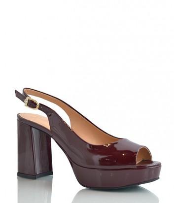 Лаковые туфли Lottini на платформе с устойчивым каблуком бордовые