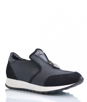 Женские кожаные кроссовки Camuzares с замшевыми вставками черные