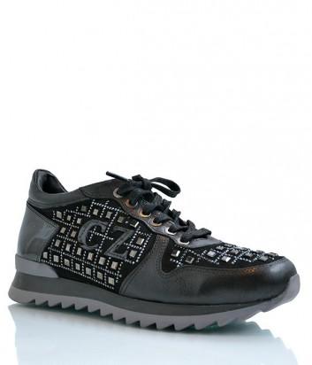 Кожаные кроссовки Camuzares с замшевыми вставками и заклепками