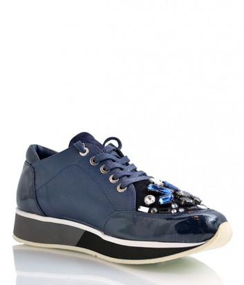 Лаковые кроссовки Camuzares декорированные кристаллами синие
