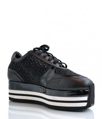Кожаные кроссовки Camuzares с россыпью мелких кристаллов черные