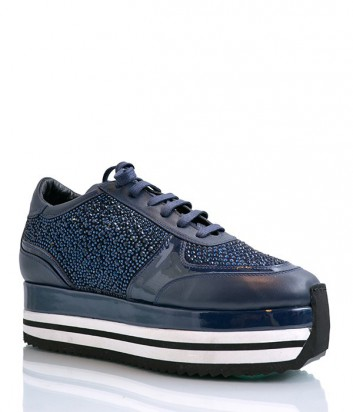 Кожаные кроссовки Camuzares с россыпью мелких кристаллов синие