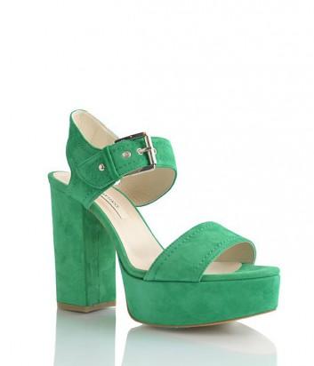 Замшевые босоножки Pier Lucci на платформе и широком каблуке зеленые