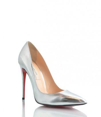 Кожаные туфли-лодочки Pier Lucci из металлизированой кожи серебряные