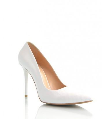 Лаковые туфли-лодочки Paoletti текстурные на высоком каблуке белые