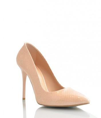 Лаковые туфли-лодочки Paoletti текстурные на высоком каблуке нюдовые