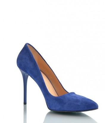 Замшевые туфли-лодочки Paoletti на высоком каблуке синие