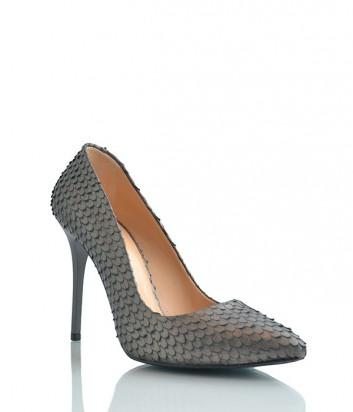 Кожаные туфли-лодочки Paoletti с чешуйчатой текстурой серые