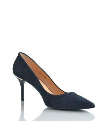 Замшевые туфли-лодочки Paoletti на среднем каблуке черные