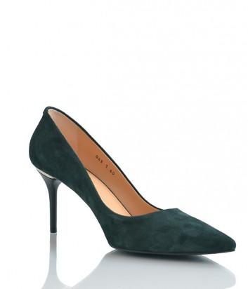 Замшевые туфли-лодочки Paoletti на среднем каблуке изумрудные